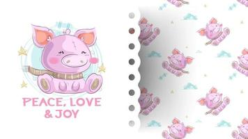 Cute piggy hand draw illustration-vector