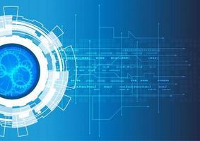 Technologie communicatieconcept met versnellingen en lijnen