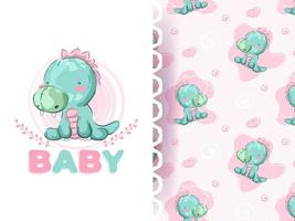 Baby cartoon dino pattern set