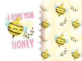 Cartoon little bee with seamless pattern
