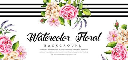 Beautiful Watercolor Floral Banner