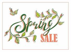 Spring Sale Floral Lettering vector