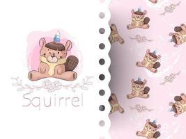Cartoon squirrel unicorn girl with flower