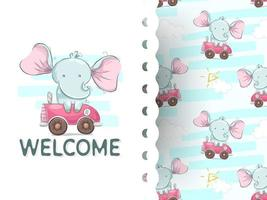 Baby elephant with car welcome cartoon vector