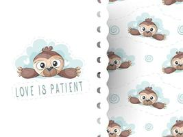 Baby sloth hand drawn background pattern