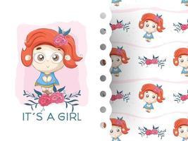 Cartoon kleines Mädchen mit Blume