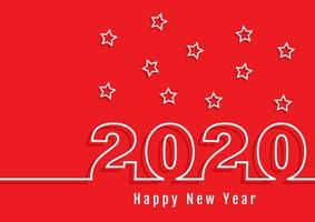Happy New Year number outline background