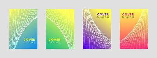 Minimal Cover design template set with abstract lines vector