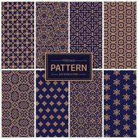 Gold and Blue Vintage Pattern Collection vector