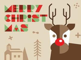 Saudação de Natal de renas vetor