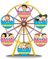 Happy children riding the ferris wheel