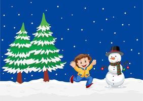 Un paisaje de invierno al aire libre con niño y muñeco de nieve