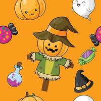 Cute Halloween pattern with scarecrow