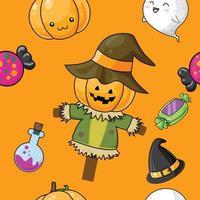 Modello di Halloween carino con spaventapasseri
