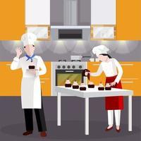 Chefs cocinando algunos pasteles