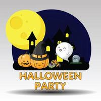 Cute Halloween Party Image with castle, pumpkins and ghost