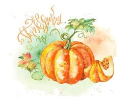 Thanksgiving day. Watercolor postcard with pumpkin