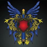 Escudo ala y emblema de lápiz vector