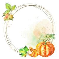 Round gold frame with watercolor pumpkin and leaves vector