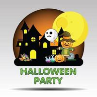 Cute Halloween Party image with castle, moon and potions vector