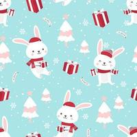 Christmas seamless pattern with bunny