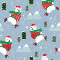 Christmas seamless pattern with polar bear ice skating
