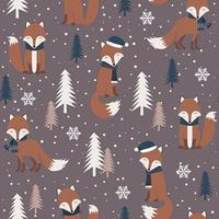 Christmas seamless pattern with warm fox vector