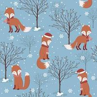 Blue Winter Christmas seamless pattern with fox vector