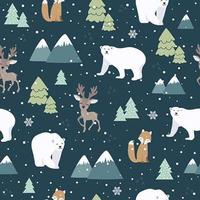 Christmas seamless pattern with polar bear