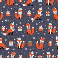 Christmas seamless pattern with fox and gifts vector