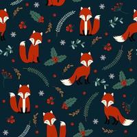 Christmas seamless pattern with fox vector