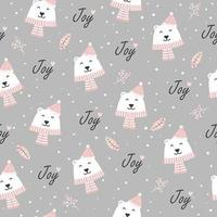 Christmas joy seamless pattern with polar bear