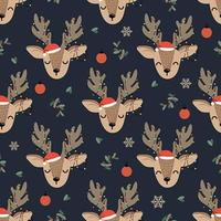 Christmas Lights Deer seamless pattern with reindeer