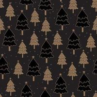 Christmas tree dark seamless pattern