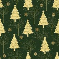 Green Christmas tree seamless pattern