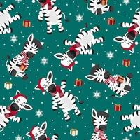 Christmas seamless pattern with zebra