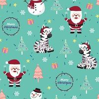 Christmas seamless pattern with zebra and Santa