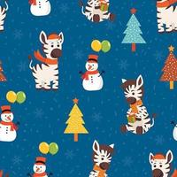 Winter Zebra Christmas seamless pattern
