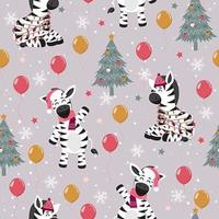 Christmas Tree and Zebra Winter seamless pattern