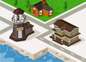 Isometrische huizen en vuurtoren door water