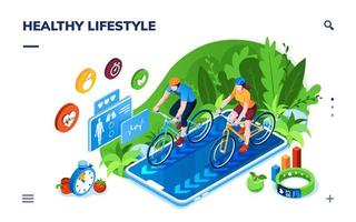 Healthy Lifestyle Isometric Infographic