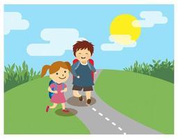 Två barn som går till skolan