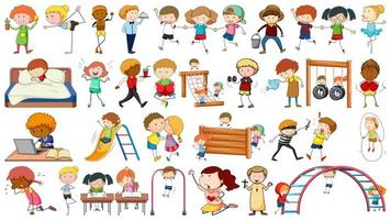Set of young doodle character