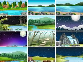 Set of different nature backgrounds vector
