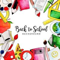 Watercolor Back To School Background vector