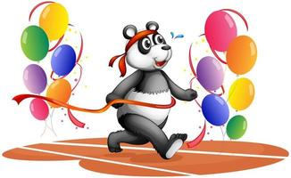 A panda running with colorful balloons