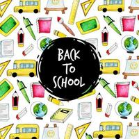 Watercolor Back To School Pattern vector