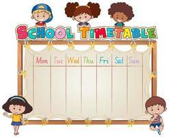 Plantilla de horario escolar con niños