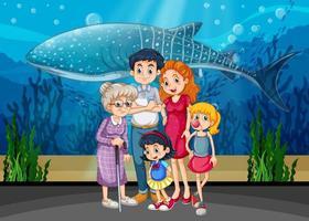 Família em cena de aquário vetor
