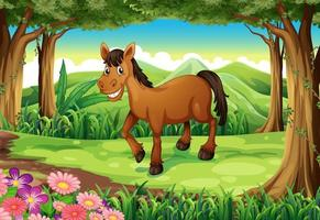 A smiling brown horse in the forest